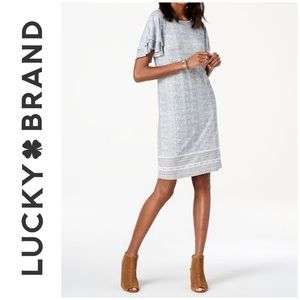 LUCKY BRAND Blue Ruffled Printed Summer Dress